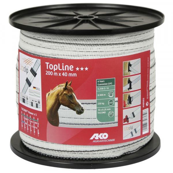 AKO Weidezaunband TopLine 200m 40 mm weiß / schwarz