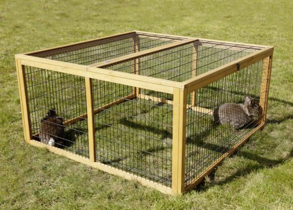 Kaninchen Gehege Freilaufgehege mit Ausbruchsperre Holz