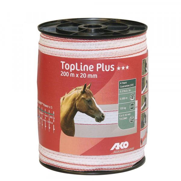 Weidezaunband TopLine Plus 200m 20 mm weiß / rot